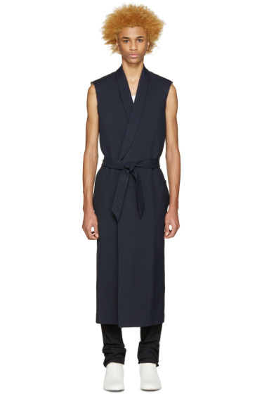 Maison Martin Margiela - Navy Gabardine Sleeveless Coat