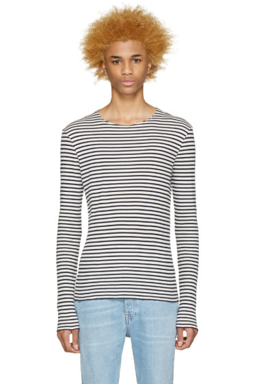 Maison Martin Margiela - Navy & Off-White Striped Pullover