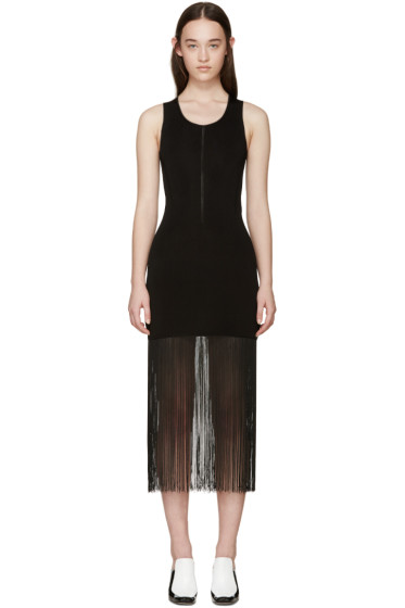Christopher Kane - Black Ribbed Fringe Dress