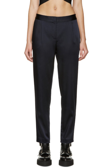 T by Alexander Wang - Navy Stretch Satin Trousers