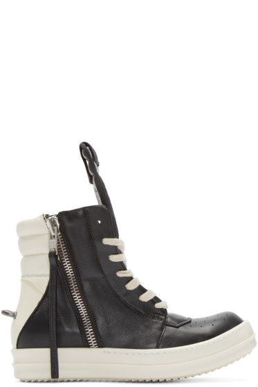 Rick Owens - Black & White Geobasket High-Top Sneakers