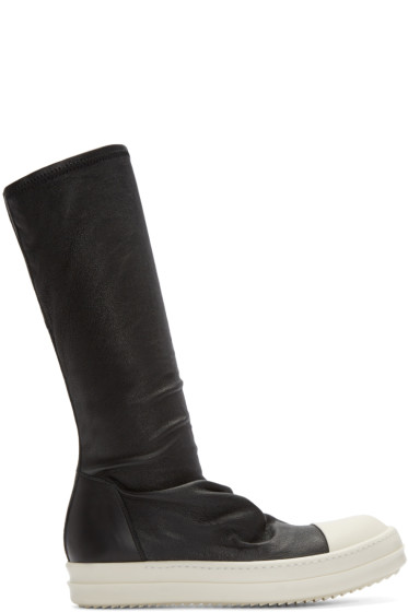 Rick Owens - Black Leather Sock High-Top Sneakers