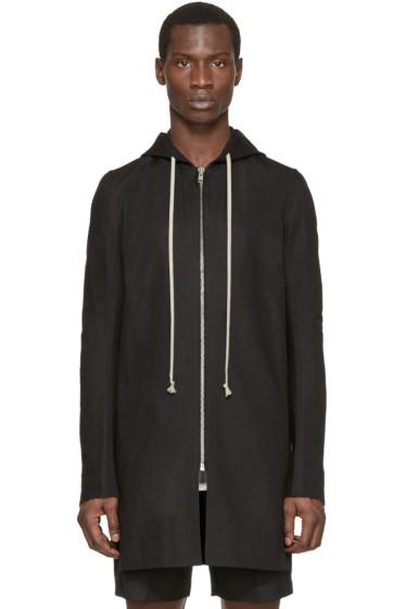Rick Owens - Black Hooded Canvas Coat