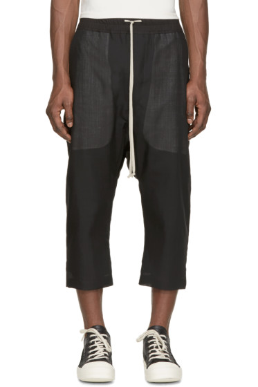 Rick Owens - Black Cropped Drawstring Trousers