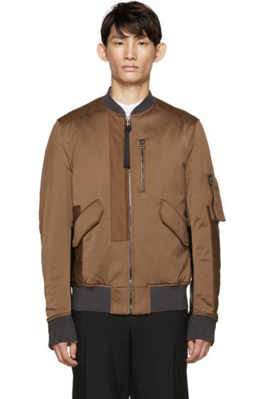 Lanvin - Brown Washed Satin Bomber Jacket