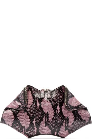 Alexander McQueen - Pink Snake-Embossed Small De Manta Clutch