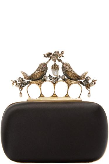 Alexander McQueen - Black Silk Birds Knucklebox Clutch