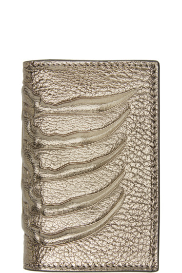 Alexander McQueen - Pewter Leather Ribcage Card Holder