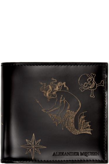 Alexander McQueen - Black Leather Tattoo Wallet