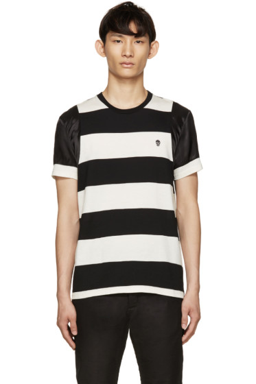 Alexander McQueen - Black & Cream Striped T-Shirt