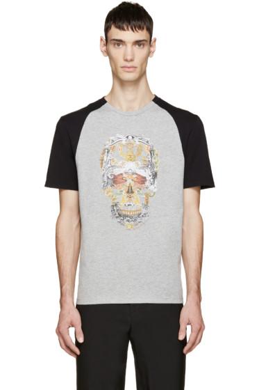 Alexander McQueen - Grey & Black Graphic Print T-Shirt