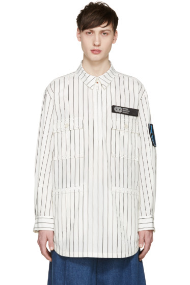 Opening Ceremony - White Pinstriped Pullover Jacket