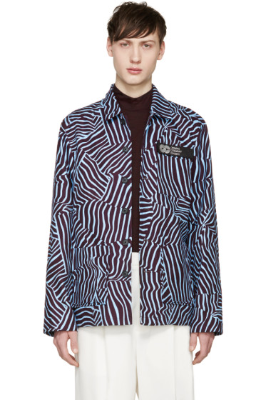 Opening Ceremony - Blue & Red Crushed Stripe Barn Jacket