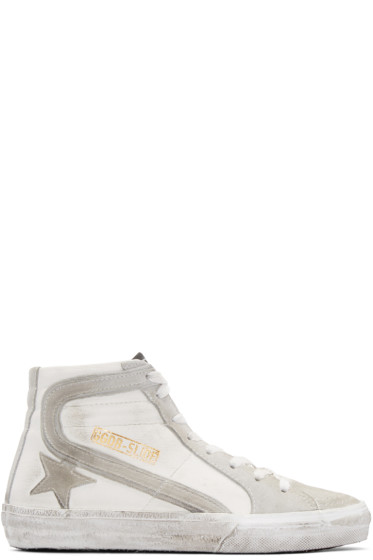 Golden Goose - White & Grey Slide High-Top Sneakers