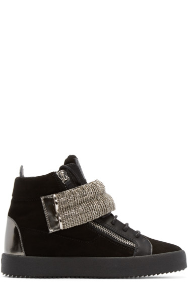 Giuseppe Zanotti - Black Embelished London High-Top Sneakers