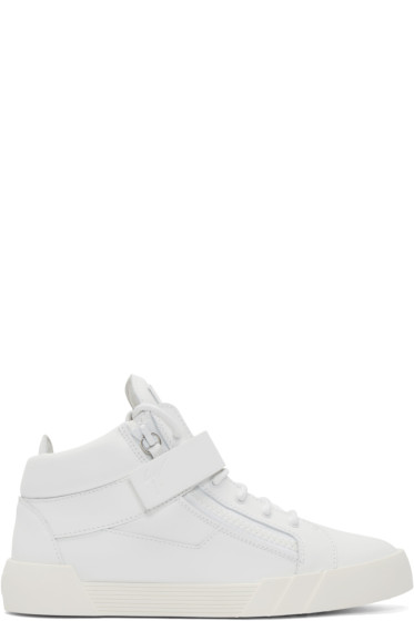 Giuseppe Zanotti - White Matte Leather London Mid-Top Sneakers
