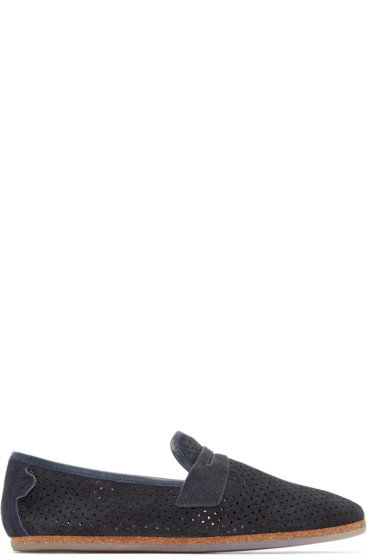 H by Hudson - Navy Platt Perforated Loafers