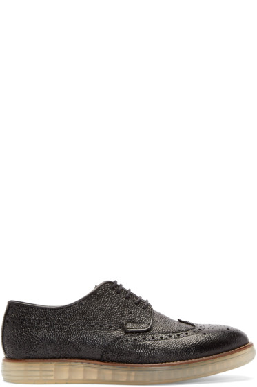 H by Hudson - Black Leather Harvey Brogues