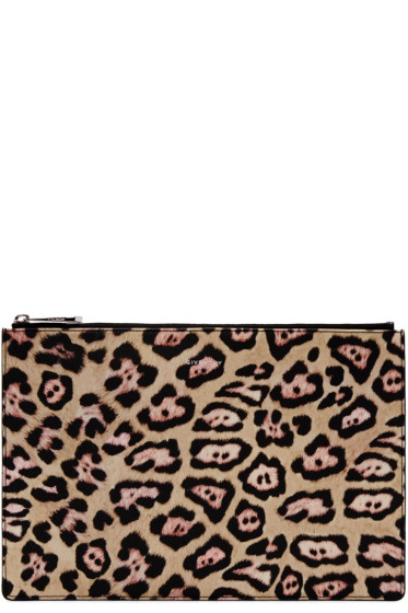 Givenchy - Beige & Pink Jaguar Small Iconic Pouch