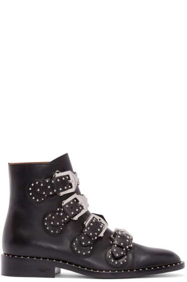 Givenchy - Black Leather Studded Buckle Boots
