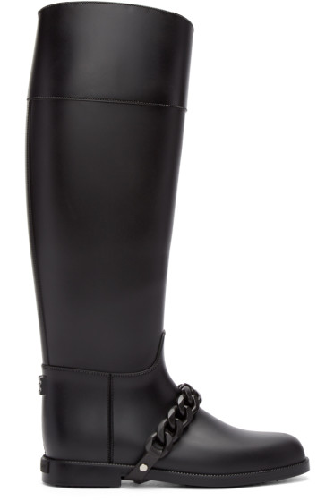 Givenchy - Black Rubber Eva Chain Boots