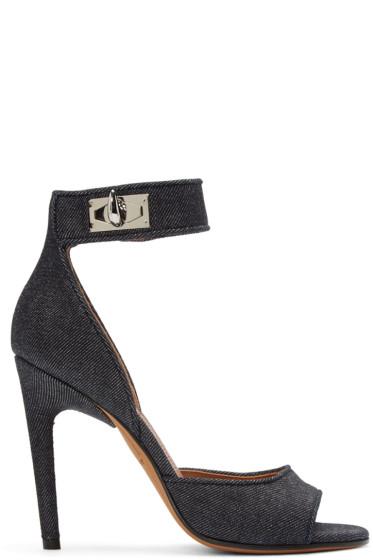 Givenchy - Indigo Denim Shark Lock Sandals