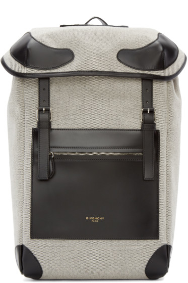 Givenchy - Black & White Canvas Rider Backpack