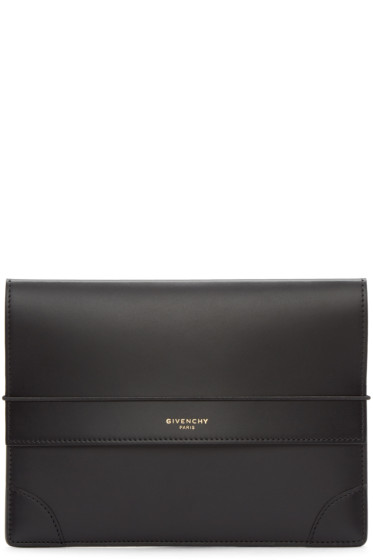 Givenchy - Black Leather Medium Logo Pouch