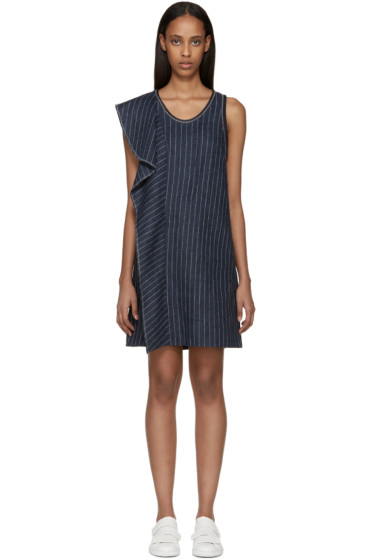 3.1 Phillip Lim - Navy Ruffled Pinstipe Dress