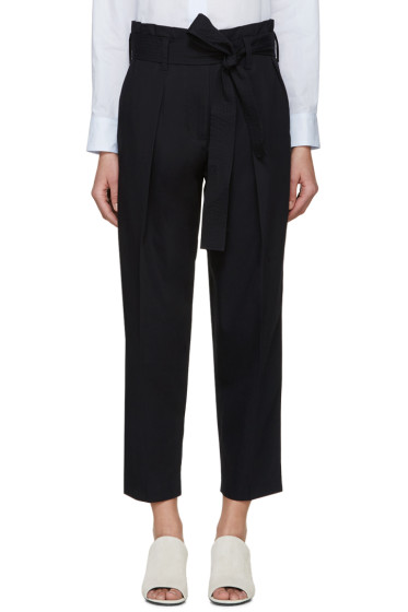3.1 Phillip Lim - Navy Belted Paperbag Trousers
