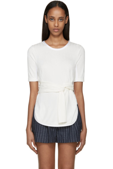 3.1 Phillip Lim - Ivory Knit Tie Front T-Shirt