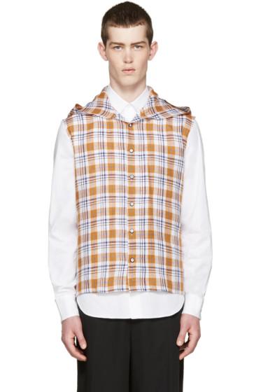 Raf Simons - Orange & Navy Check Hooded Shirt