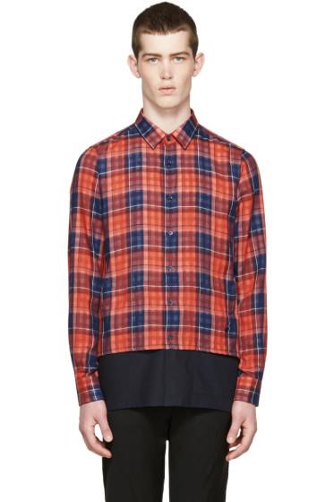 Raf Simons - Red & Navy Layered Check Shirt