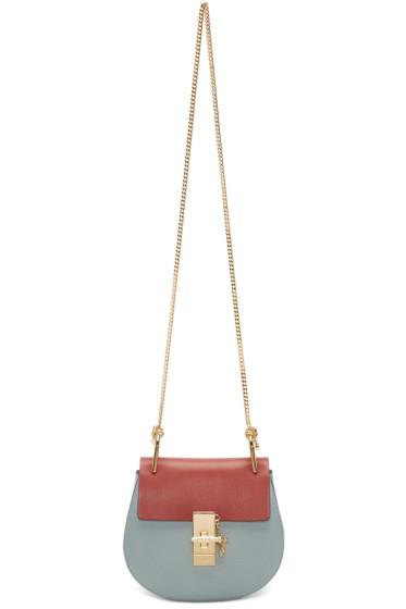 Chloé - Blue & Red Mini Drew Saddle Bag