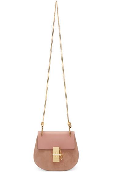 Chloé - Pink Leather & Suede Mini Drew Saddle Bag