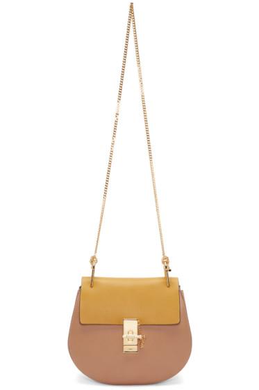 Chloé - Tan & Yellow Small Drew Saddle Bag