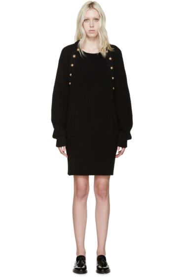 Chloé - Black Knit Wool Buttoned Dress