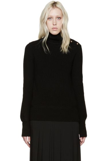 Chloé - Black Wool Buttoned Turtleneck