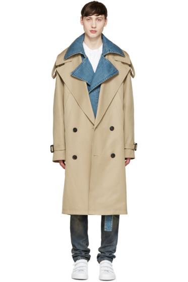 Juun.J - Khaki & Blue Layered Trench Coat