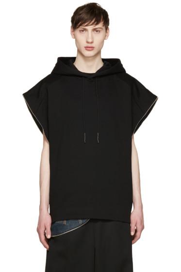 Juun.J - Black Side Zip Sleeveless Hoodie