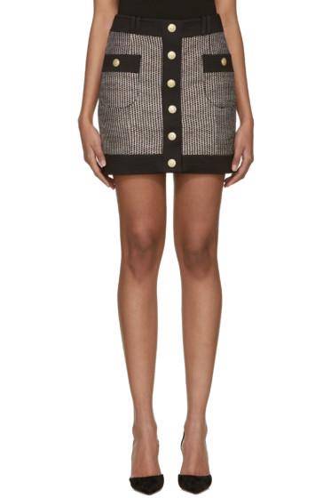 Pierre Balmain - Black & White Tweed Button Miniskirt