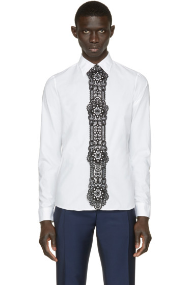 Burberry Prorsum - White Lace Trim Shirt