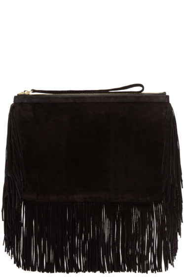 Pierre Hardy - Black Fringed Suede Alpha Clutch