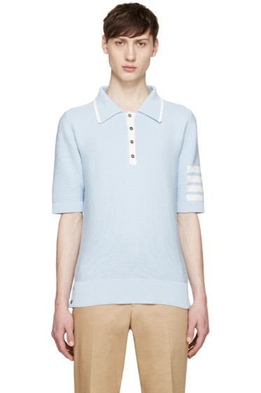 Thom Browne - Blue Knit Striped Armband Polo