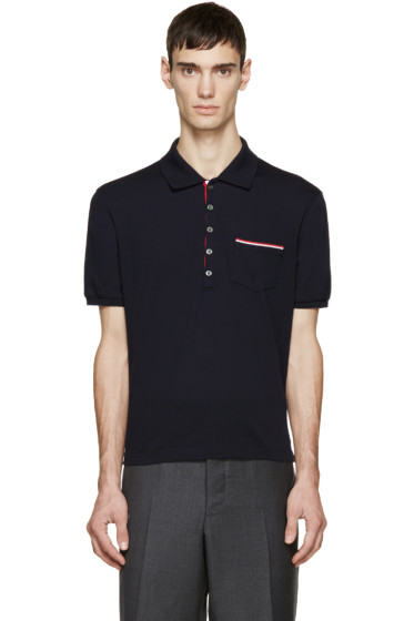 Thom Browne - Navy Cotton Piqué Polo