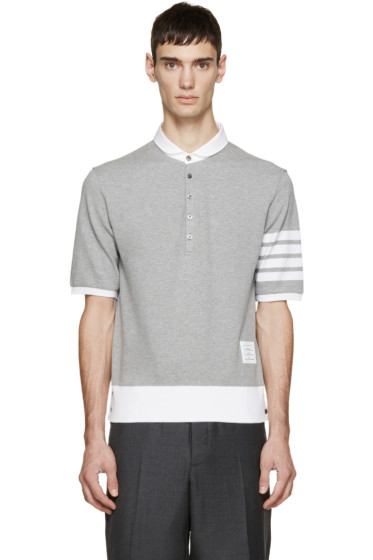 Thom Browne - Grey Cotton Piqué Armband Polo