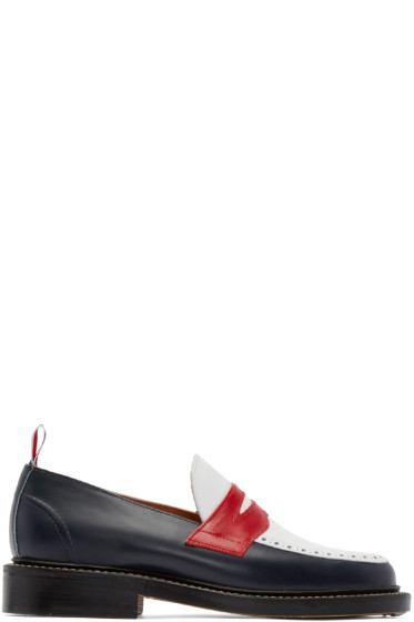 Thom Browne - Tricolor Leather Penny Loafers