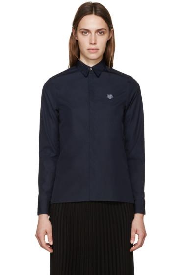 Kenzo - Navy Poplin Tiger Shirt