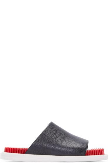 Kenzo - Black Leather Slide Sandals