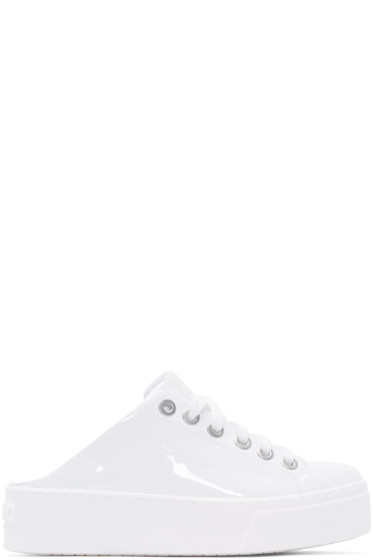 Kenzo - White Patent Leather Slip-On Sneakers